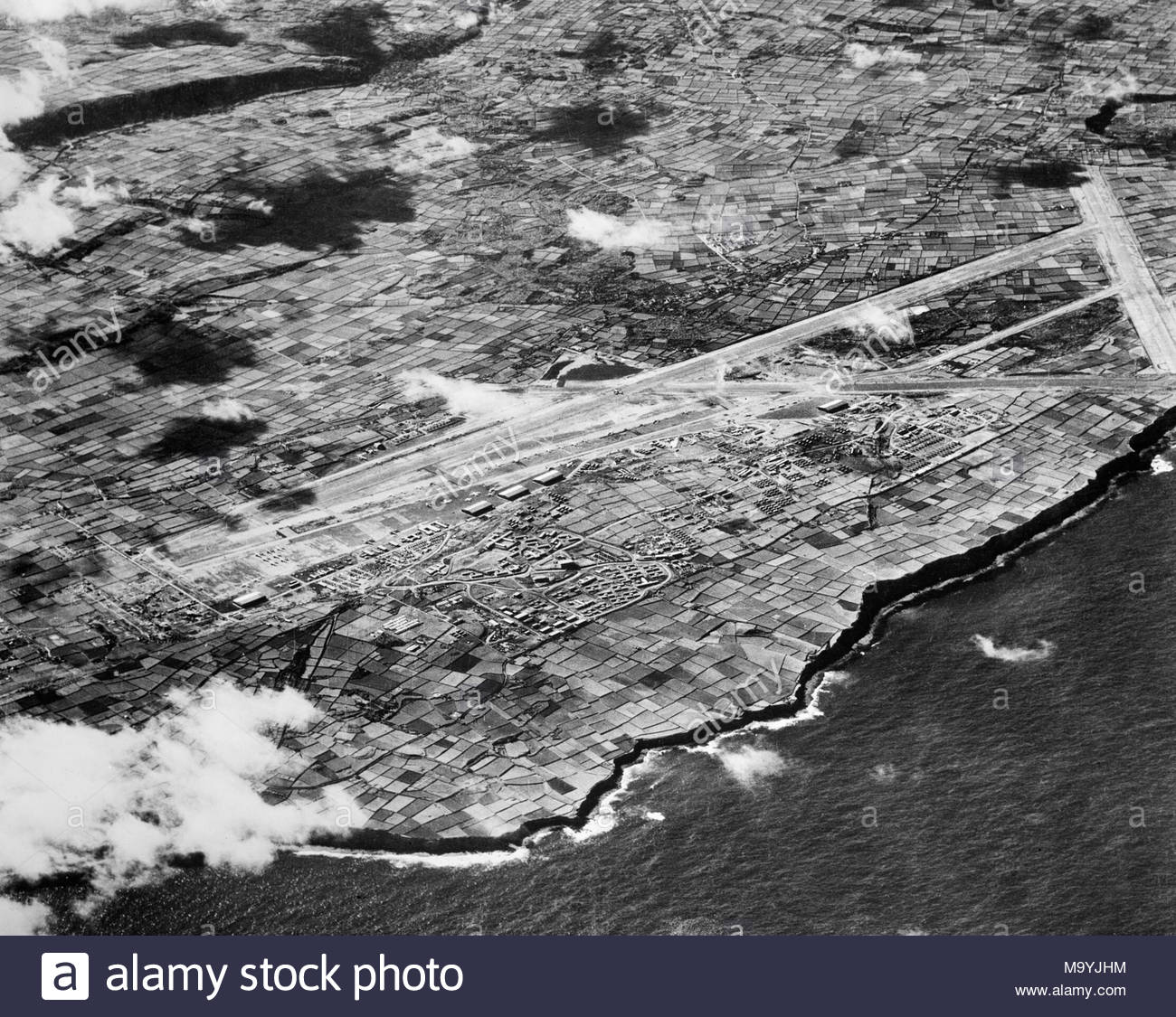 High Level Oblique Aerial Photograph Of The Airfield At Lagens On Island Terceira Azores From East