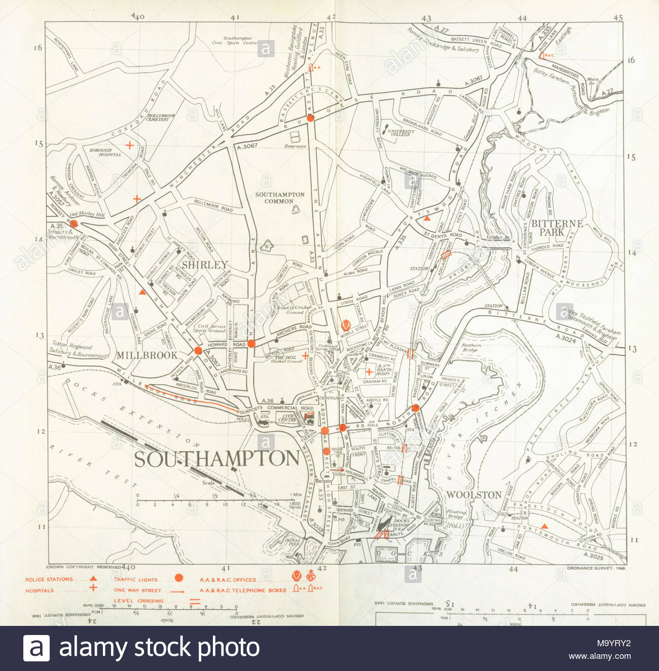 1948 World Map.A Road Map Of Southampton From 1948 Produced By Os Stock Photo