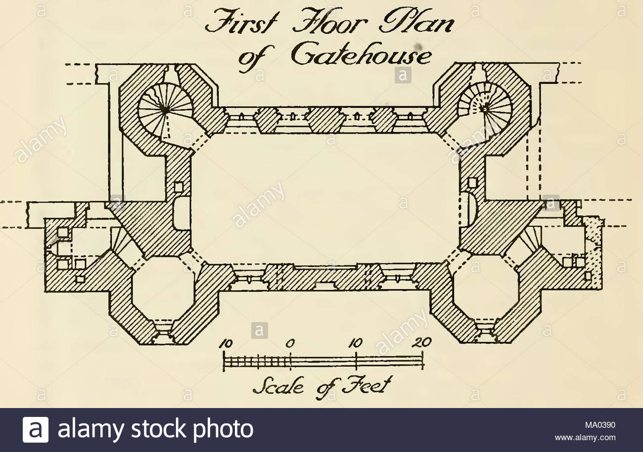 First floor plan of Gatehouse, Kirby Muxloe Castle near Leicester ...