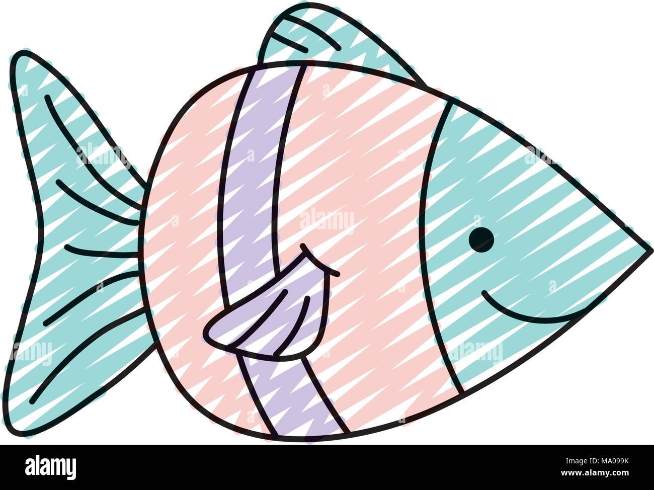 doodle nature aquatic fish sea animal - Stock Vector