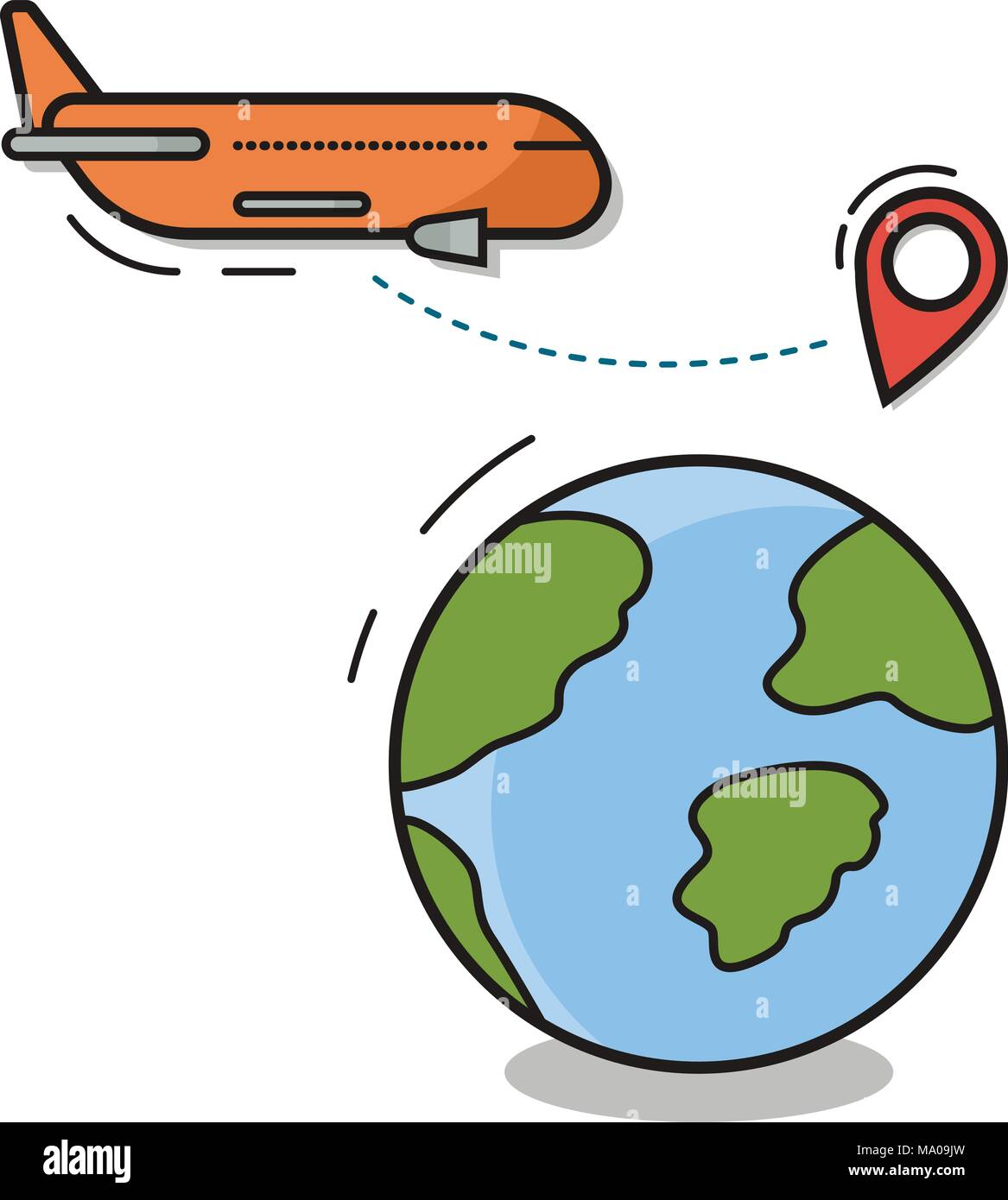 dae5ede4e70 Travel Icon Isolated Plane Fly Over World Globe With Map Pointers Vector  Linear Flat Illustration -