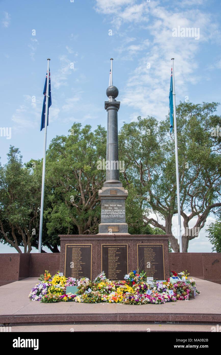 Darwin,Northern Territory,Australia-February 19,2018: Cenotaph Memorial on the Bombing of Darwin Day 76th anniversary remembrance in Darwin, Australia Stock Photo