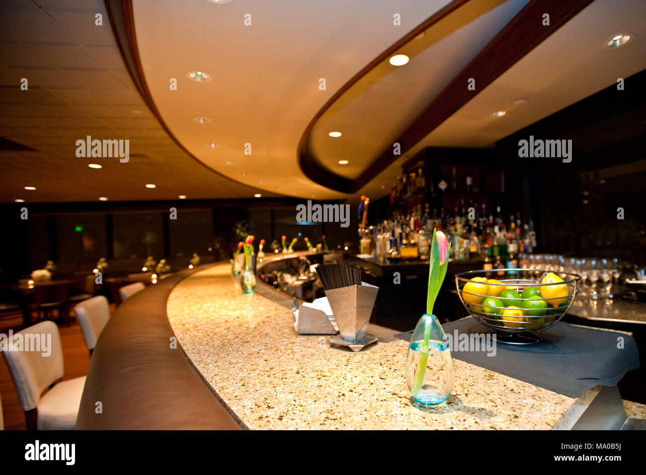 A stylish bar with fresh flowers decorations in a banquet hall Stock ...