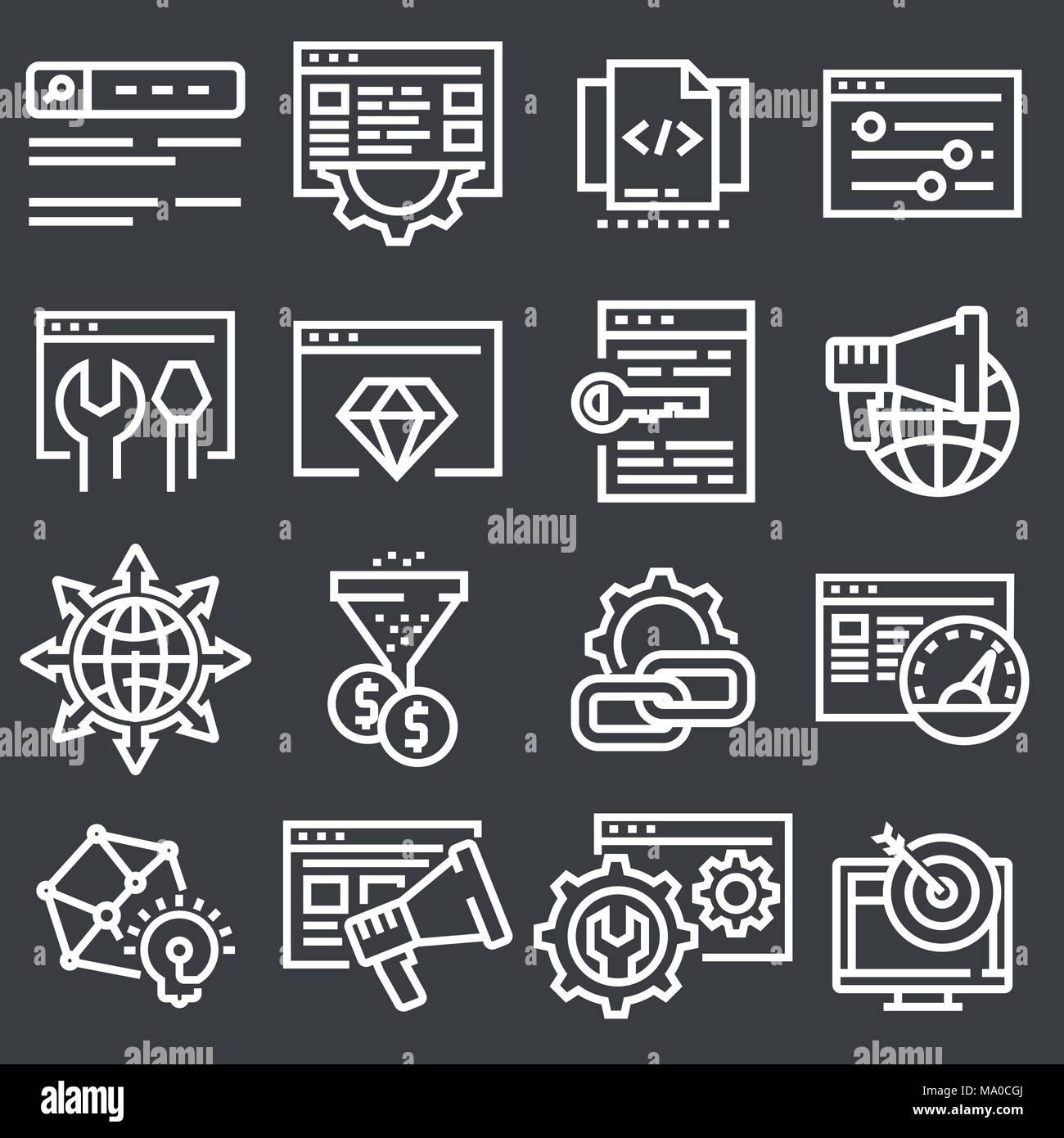 Set of Vector SEO Search Engine Optimisation Elements Icons Illustration - Stock Image