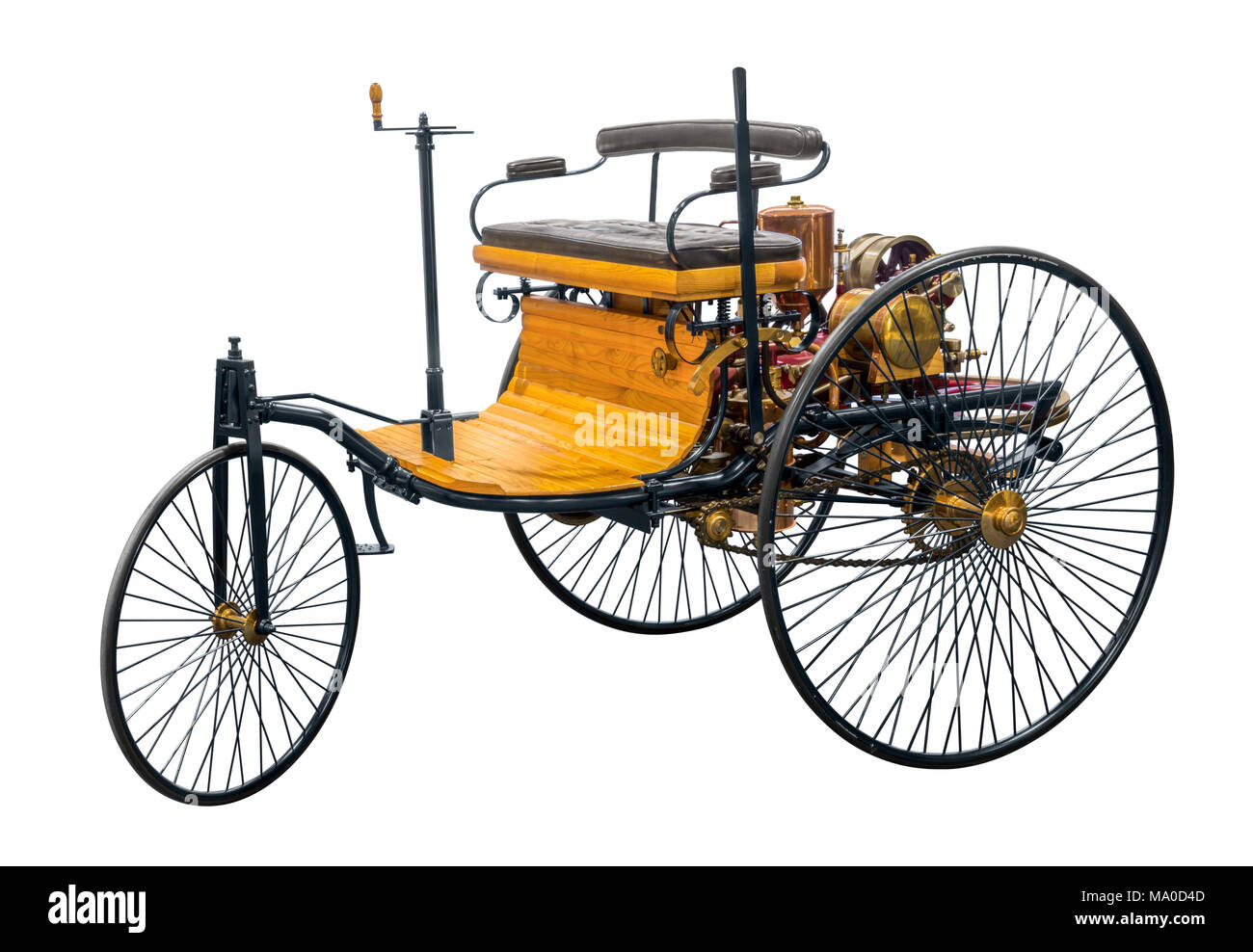 replica of a old historic vehicle named patent motorcar isolated in white back - Stock Image