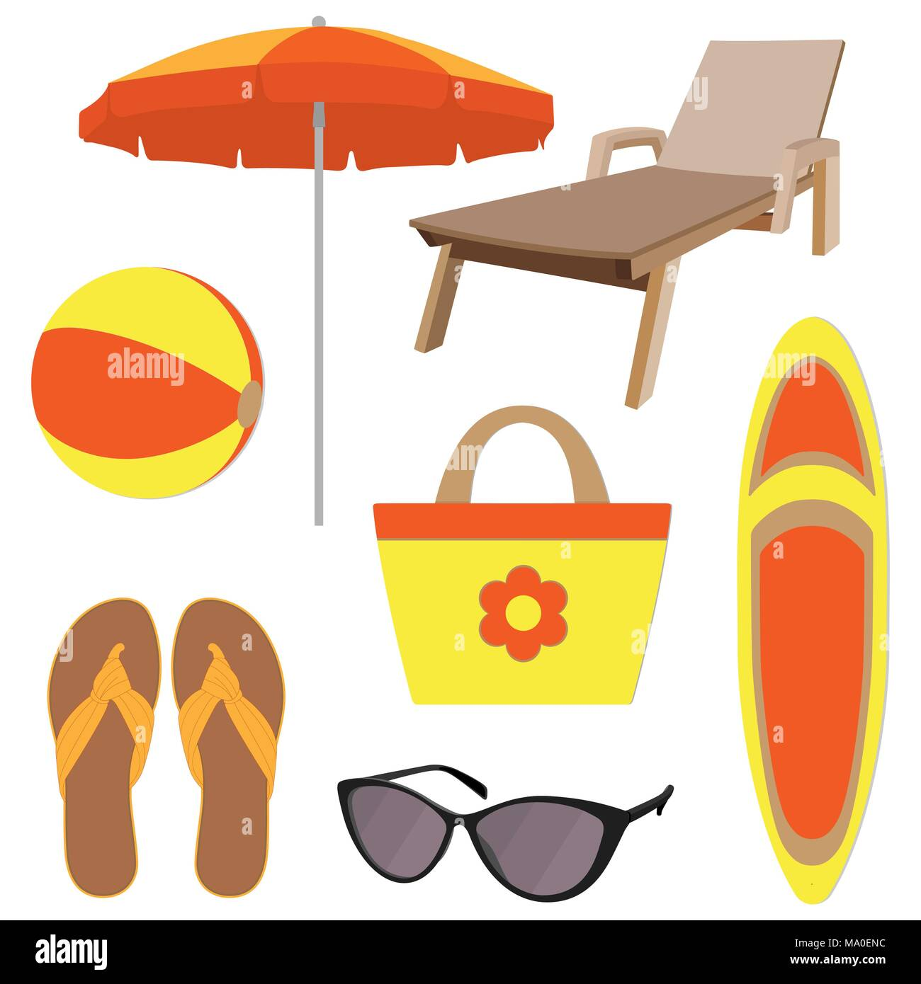 Summer vacation accessories in flat style, set. Chaise longue, slippers, sun glasses, sun umbrella, inflatable ball, beach bag, surfboard. Colorful ab - Stock Vector