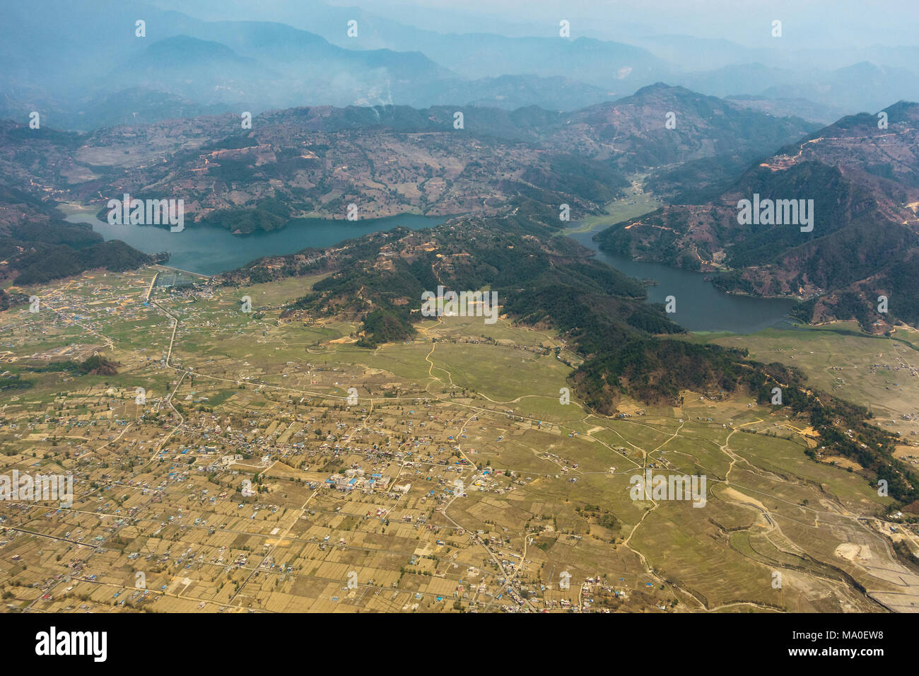 Aerial view of Begnas and Rupa lakes near Pokhara in Nepal - Stock Image