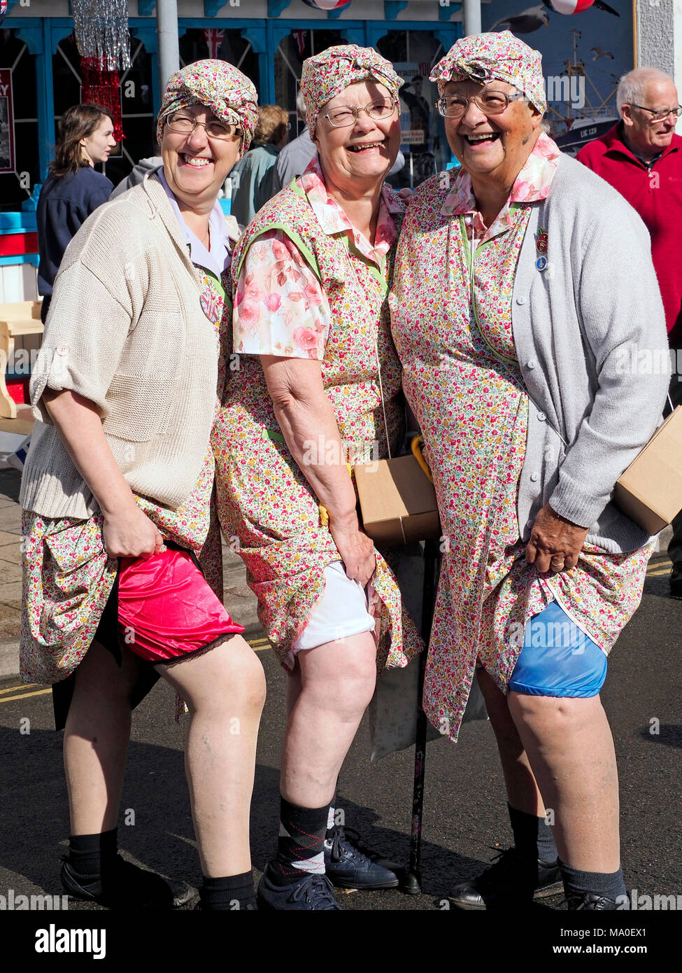 A carnival atmosphere at the 1940's weekend in Sheringham, Sept 2017, part of an event organised by the North Norfolk Railway. Mrs Mops show off. - Stock Image
