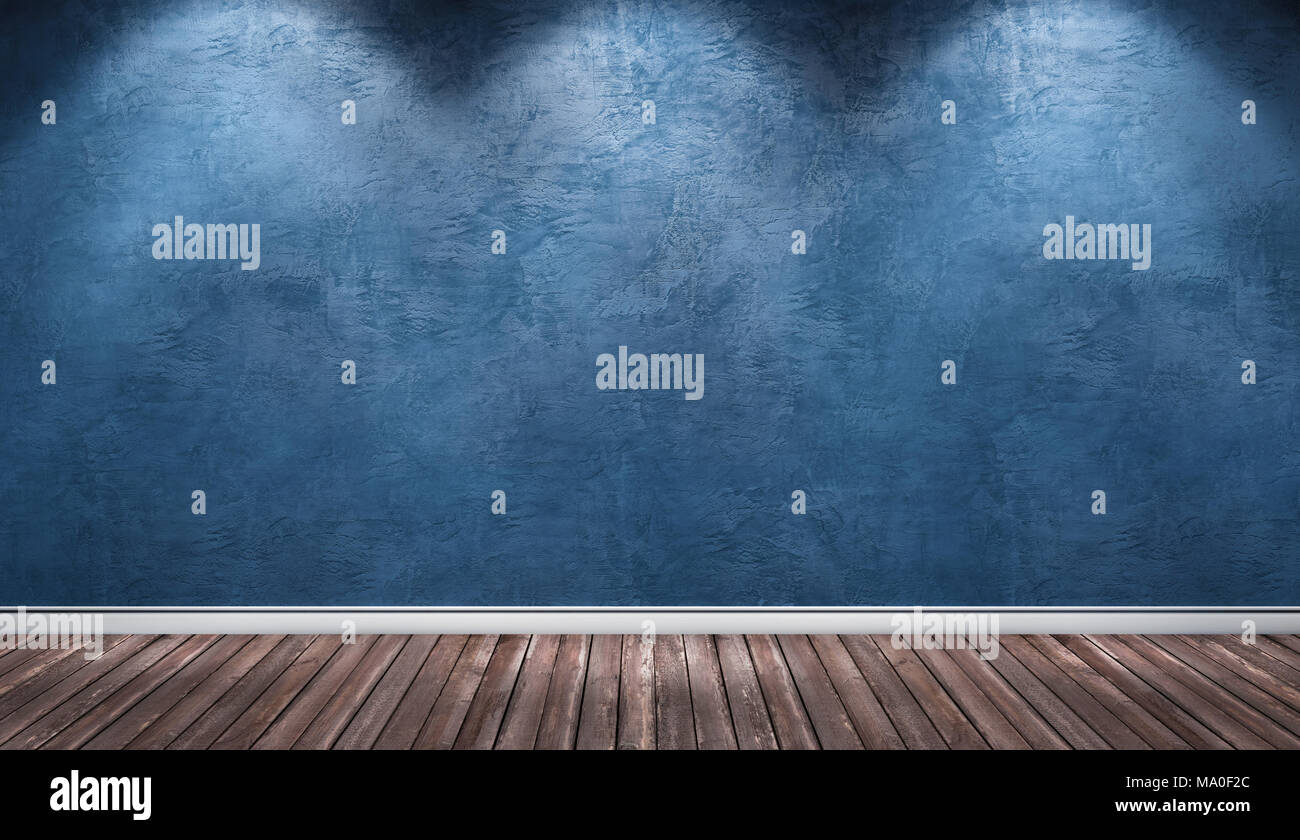 3d rendering illustration of big modern room with blue plaster wall ...
