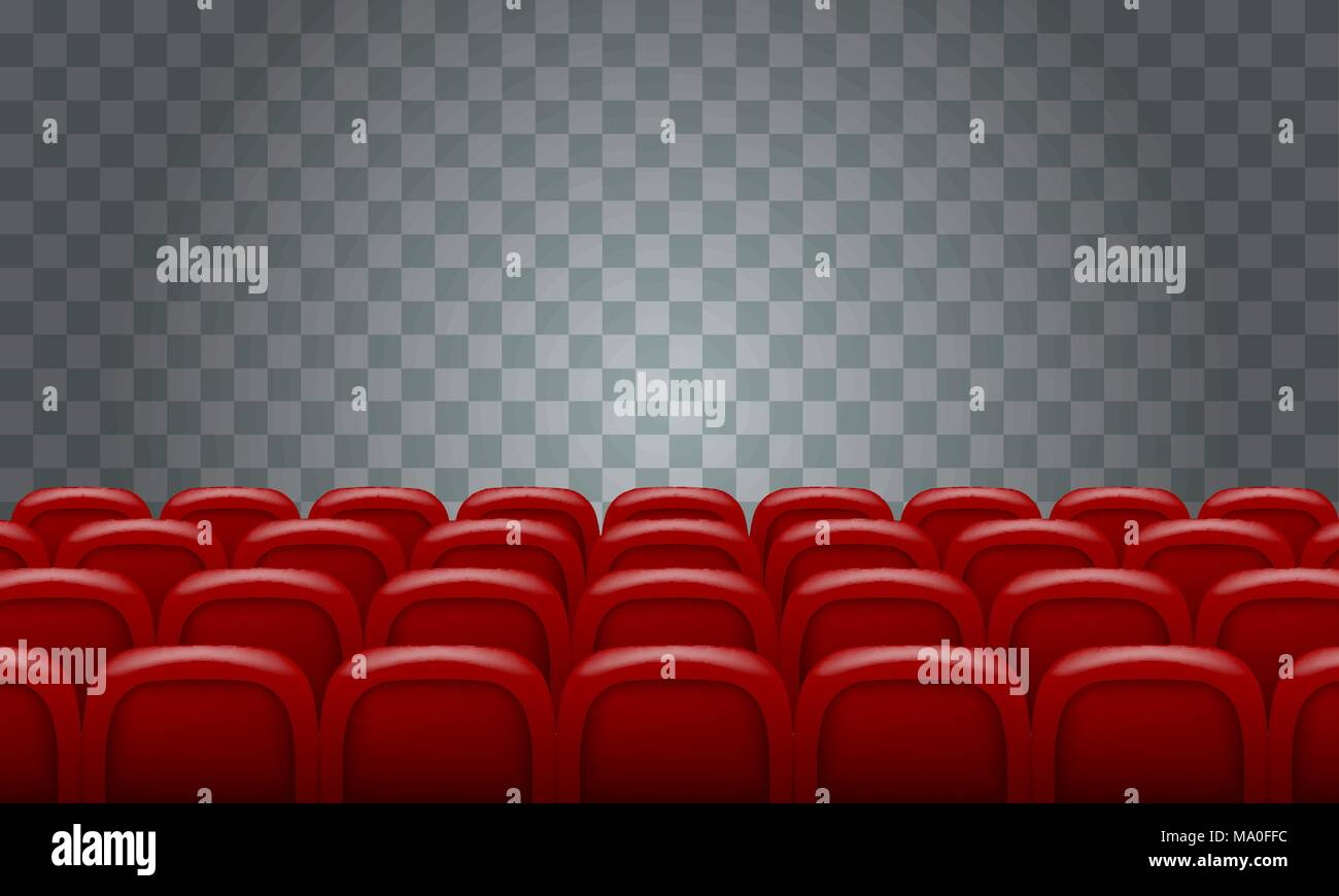 Realistic Rows Of Red Cinema Movie Theater Seats On Transparent Background Stock Vector Image Art Alamy