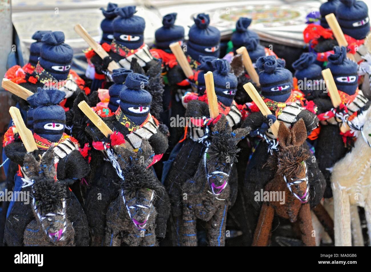 Zapatista Marcos dolls for sale in San Cristobal de las Casas, Chiapas, Mexico. - Stock Image