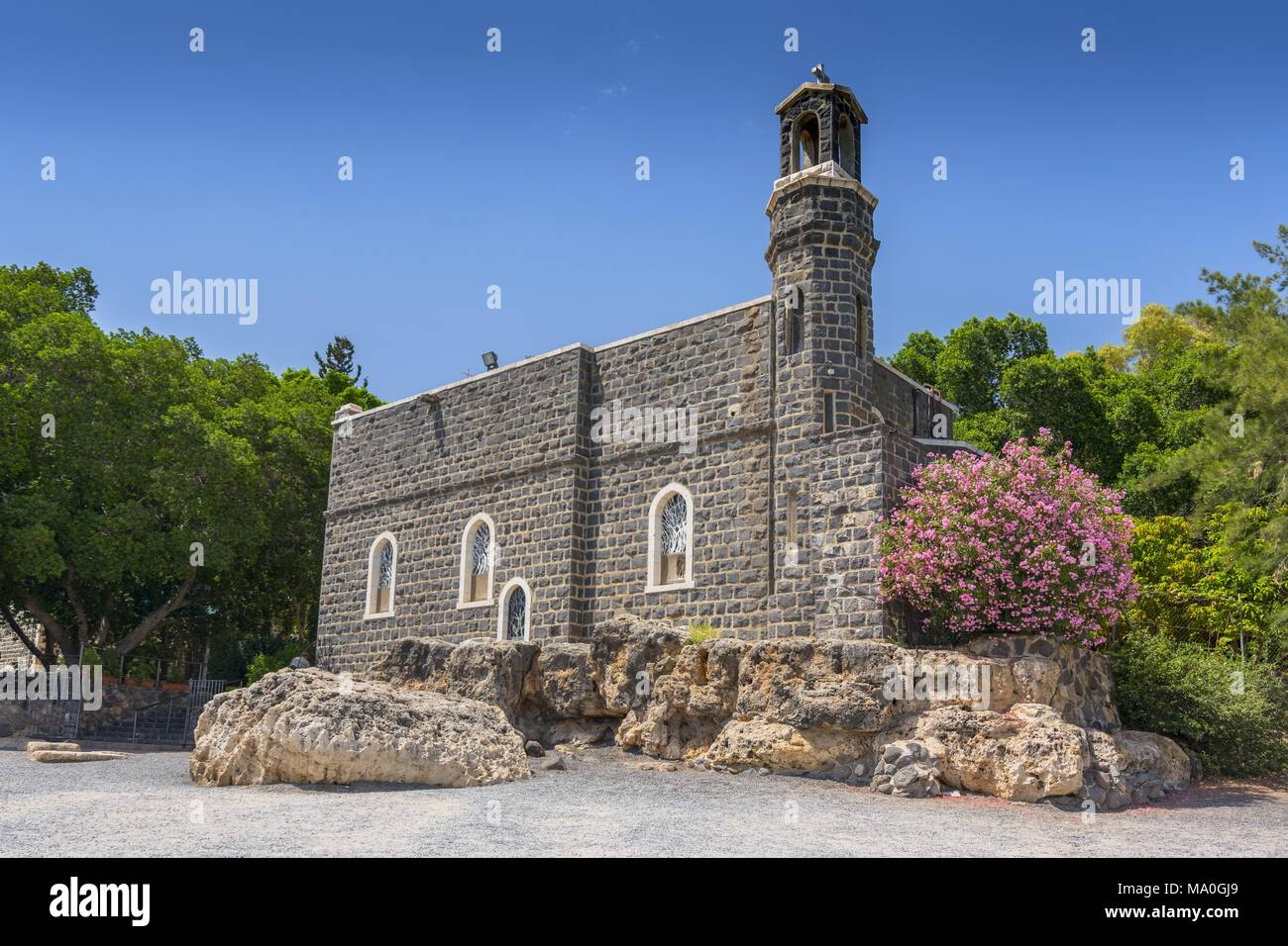 Church of the Primacy of St Peter in Tabgha, Galilee, Israel, Middle East. - Stock Image