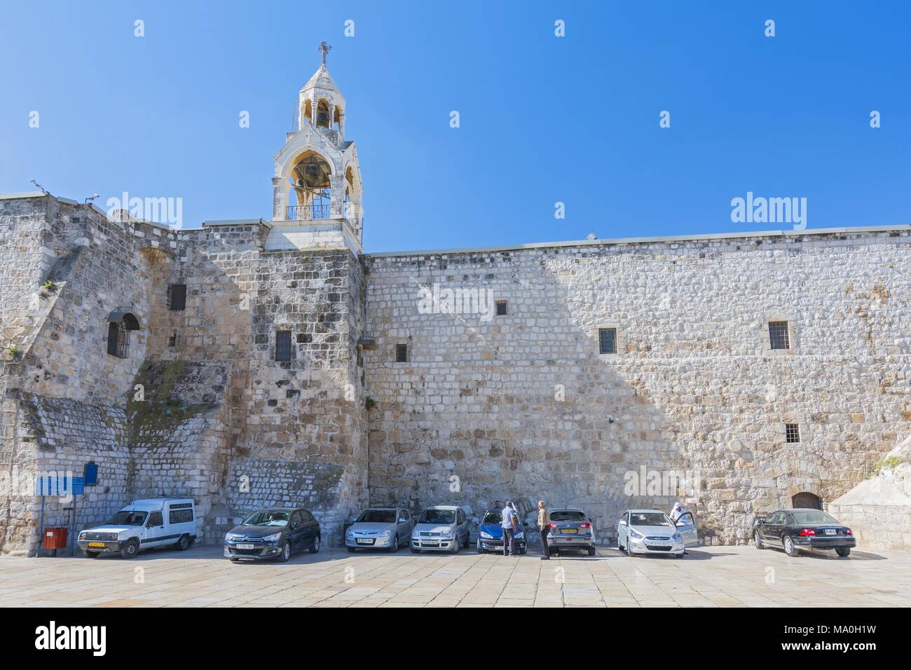 The Church of the Nativity in Manger Square, Bethlehem, Palestine. It takes its name from the manger where Jesus is said to have been born which, acco - Stock Image