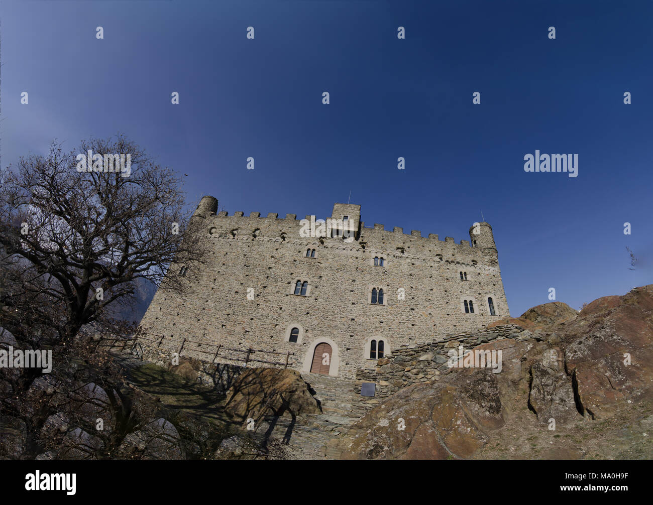 Ussel fraction of Chatillon, Valle d'Aosta, Italy 11 February 2018. Large format photo of the castle facade, entrance side. - Stock Image