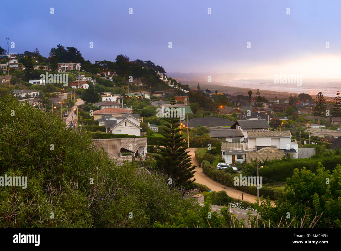 Panoramic view of the wealthy beach town of Santo Domingo, V Region, Chile - Stock Image