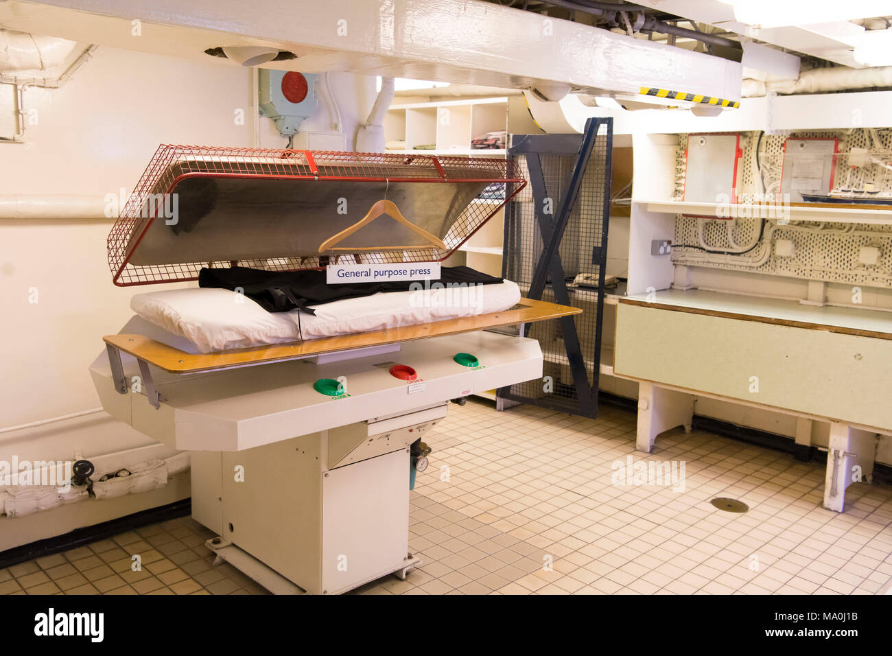 Interior pictures showing the laundrette of the Royal Yacht Britania, also known as Her Majesty's Yacht Britannia, which is the former royal yacht of  Stock Photo