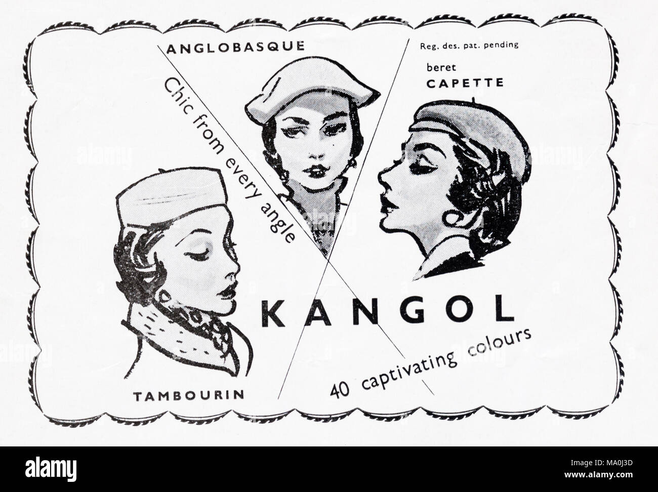1950s magazine advertisement advertising Kangol hats for women. - Stock Image