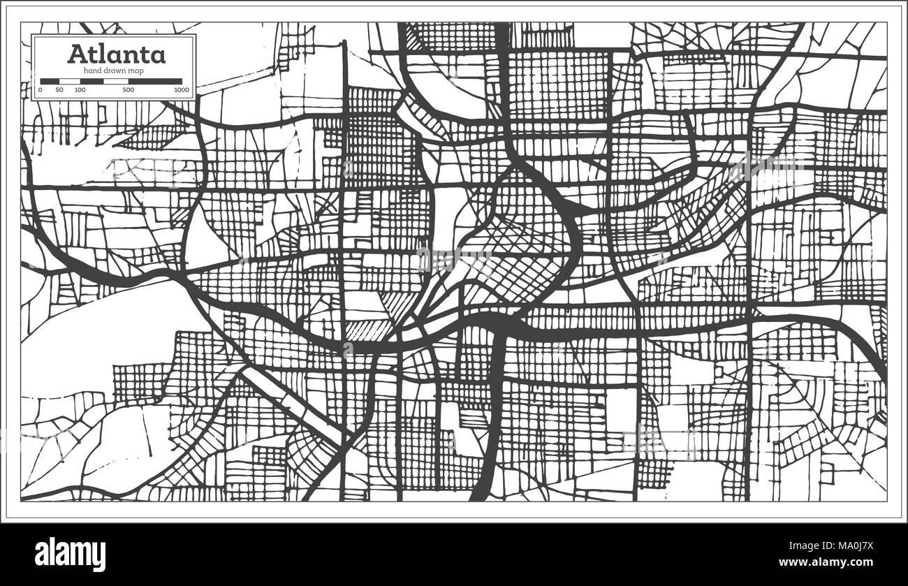 Atlanta Georgia USA City Map in Retro Style Black and White Color ...