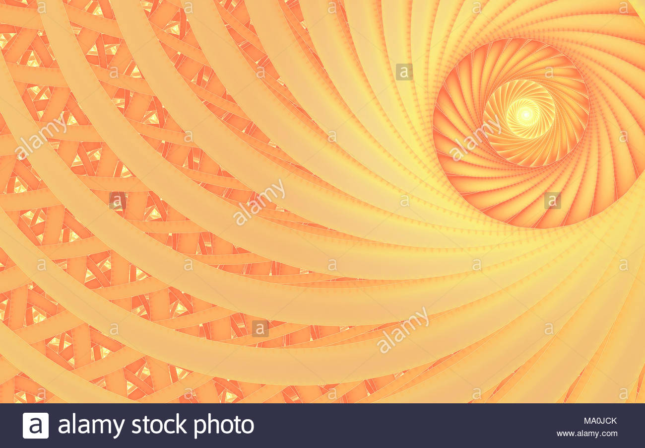abstract fantasy swirl tunnel fractal with peach lines cover design