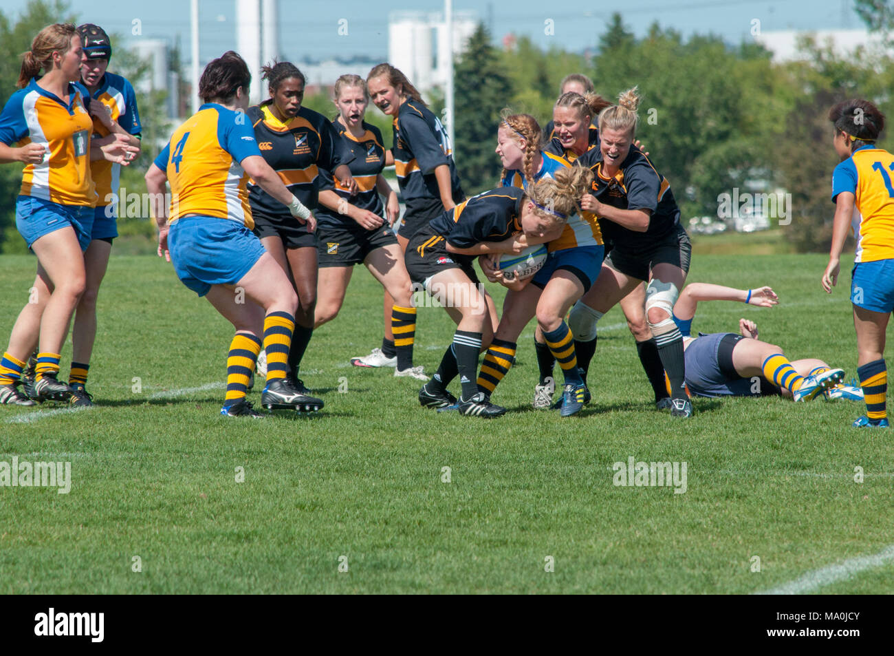 Players fight for the ball in the Alberta Women's Premiership Championship Match between the Calgary Hornets and the Edmonton Lep-Tigers at the Calgar - Stock Image
