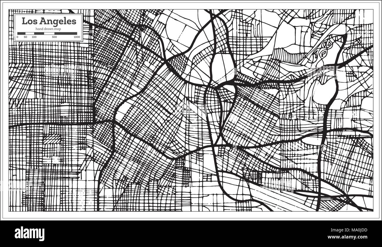 Los Angeles California USA City Map in Retro Style Black and White