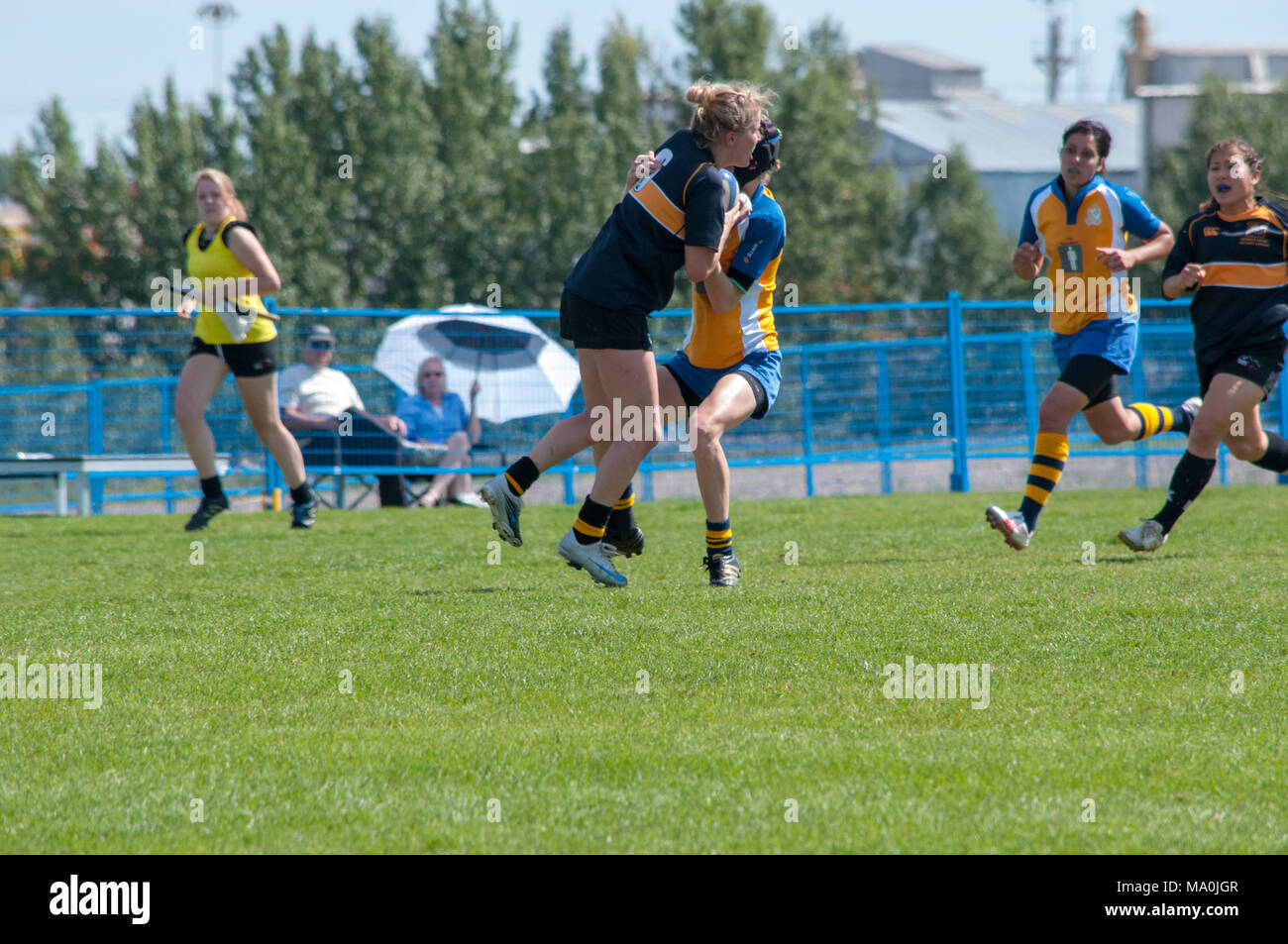Two players collide in the Alberta Women's Premiership Championship Match between the Calgary Hornets and the Edmonton Lep-Tigers at the Calgary Rugby - Stock Image