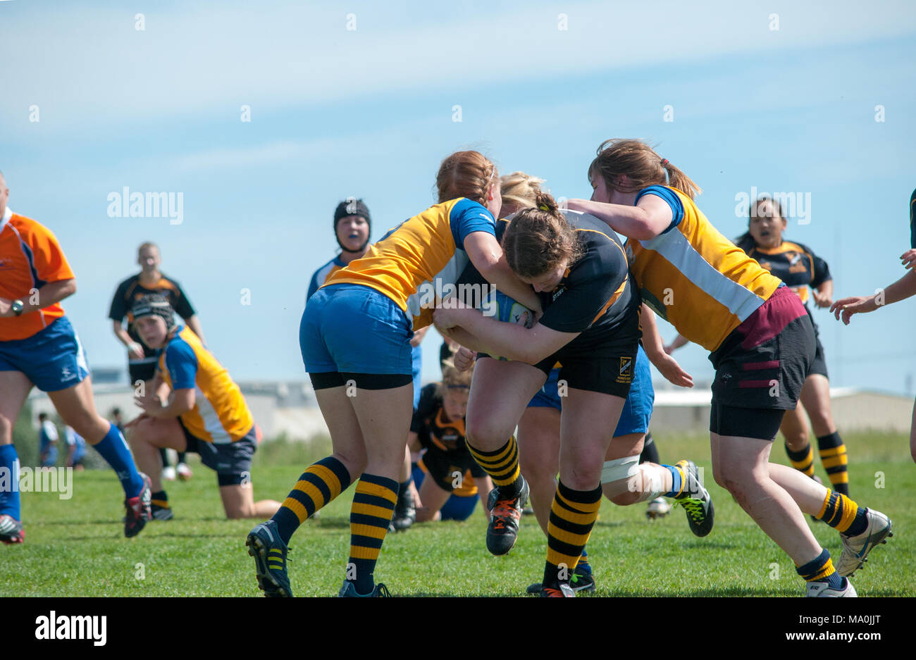 The loack attempts to break a tackle at the Alberta Women's Premiership Championship Match between the Calgary Hornets and the Edmonton Lep-Tigers at  - Stock Image