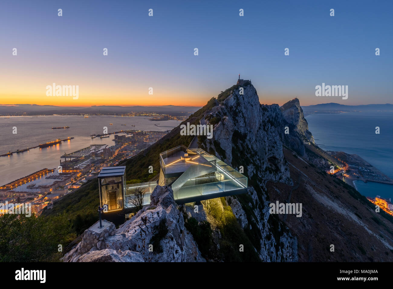 New Gibraltar Skywalk seen at Sunset - Stock Image