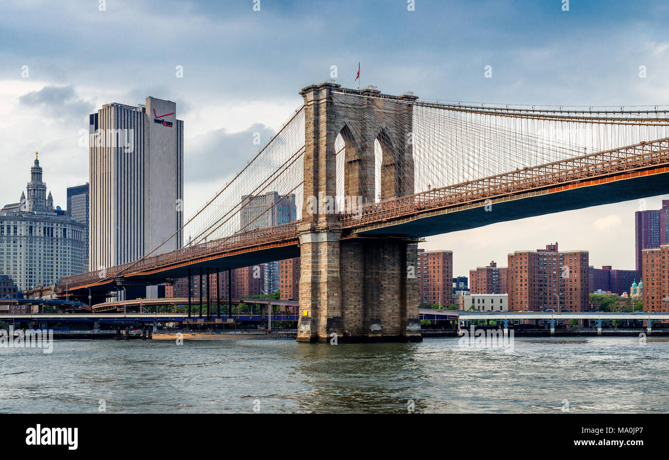 View of the Brooklyn bridge and the Manhattan skyline, in New York City. Photo taken from the ferry, while cruising East river. - Stock Image