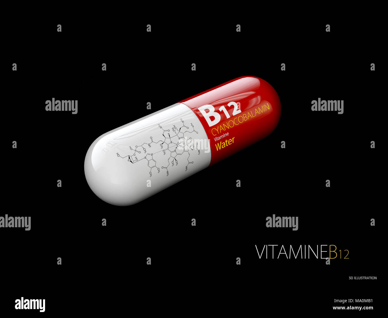 3d Illustration of Vitamin B12 Capsule with formule, isolated black. - Stock Image