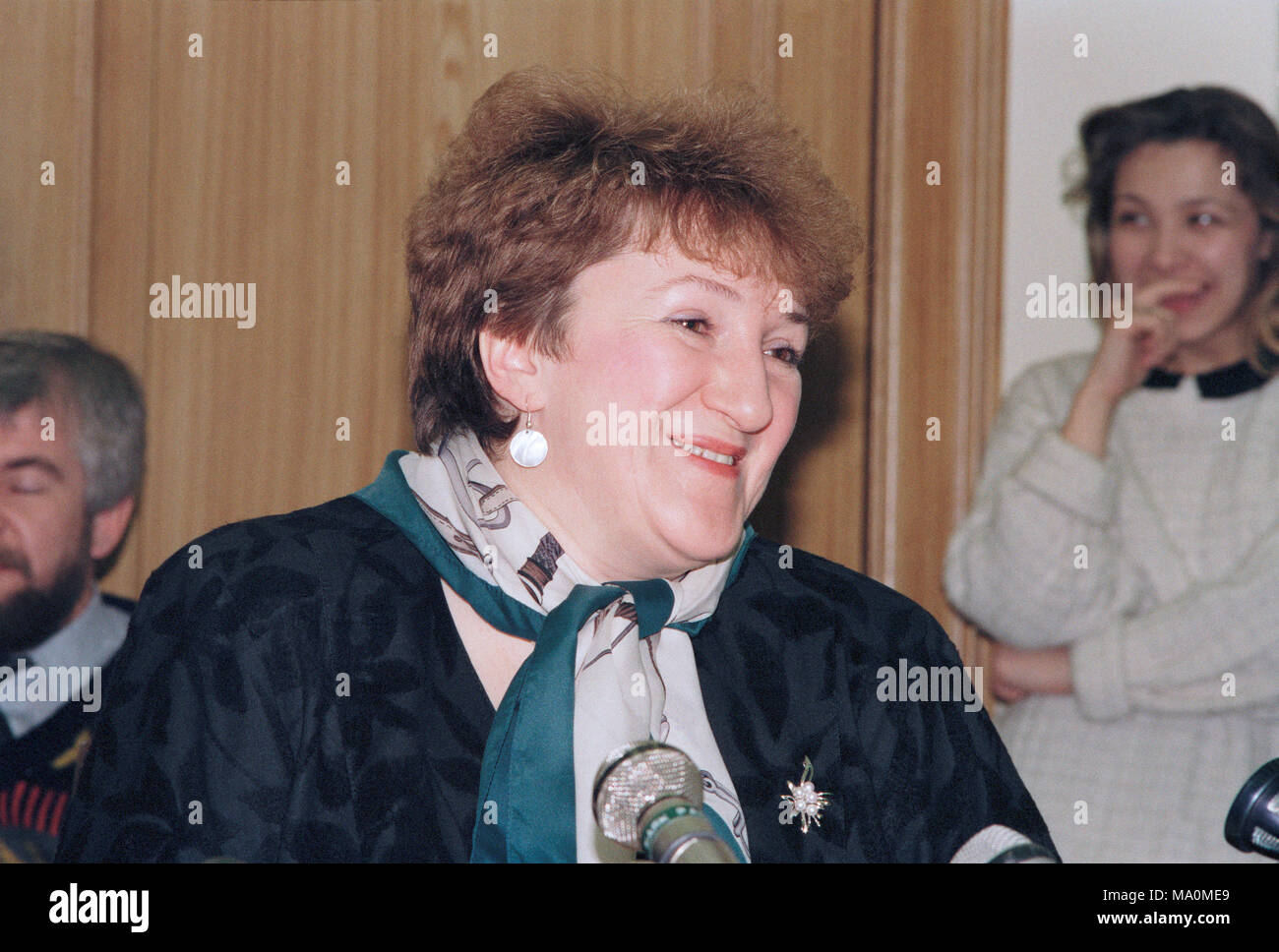Moscow, Russia - February 20, 1992: Russian pilitician Galina Vasilyevna Starovoitova at her press-conference - Stock Image