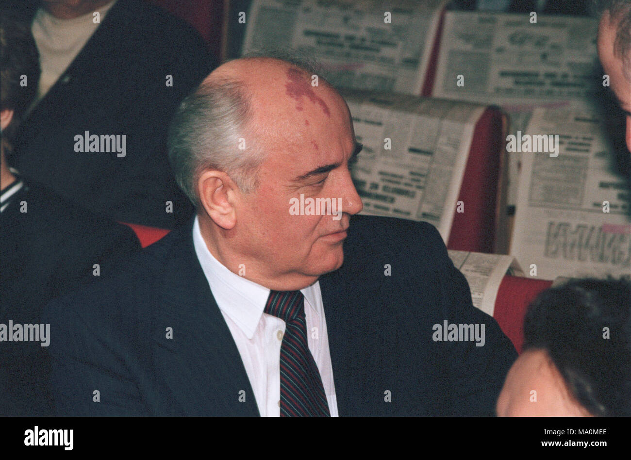 Moscow, Russia - February 29, 1992: Former soviet president Mikhail Sergeevich Gorbachev at anniversary party of Nezavisimaya gazeta newspaper - Stock Image