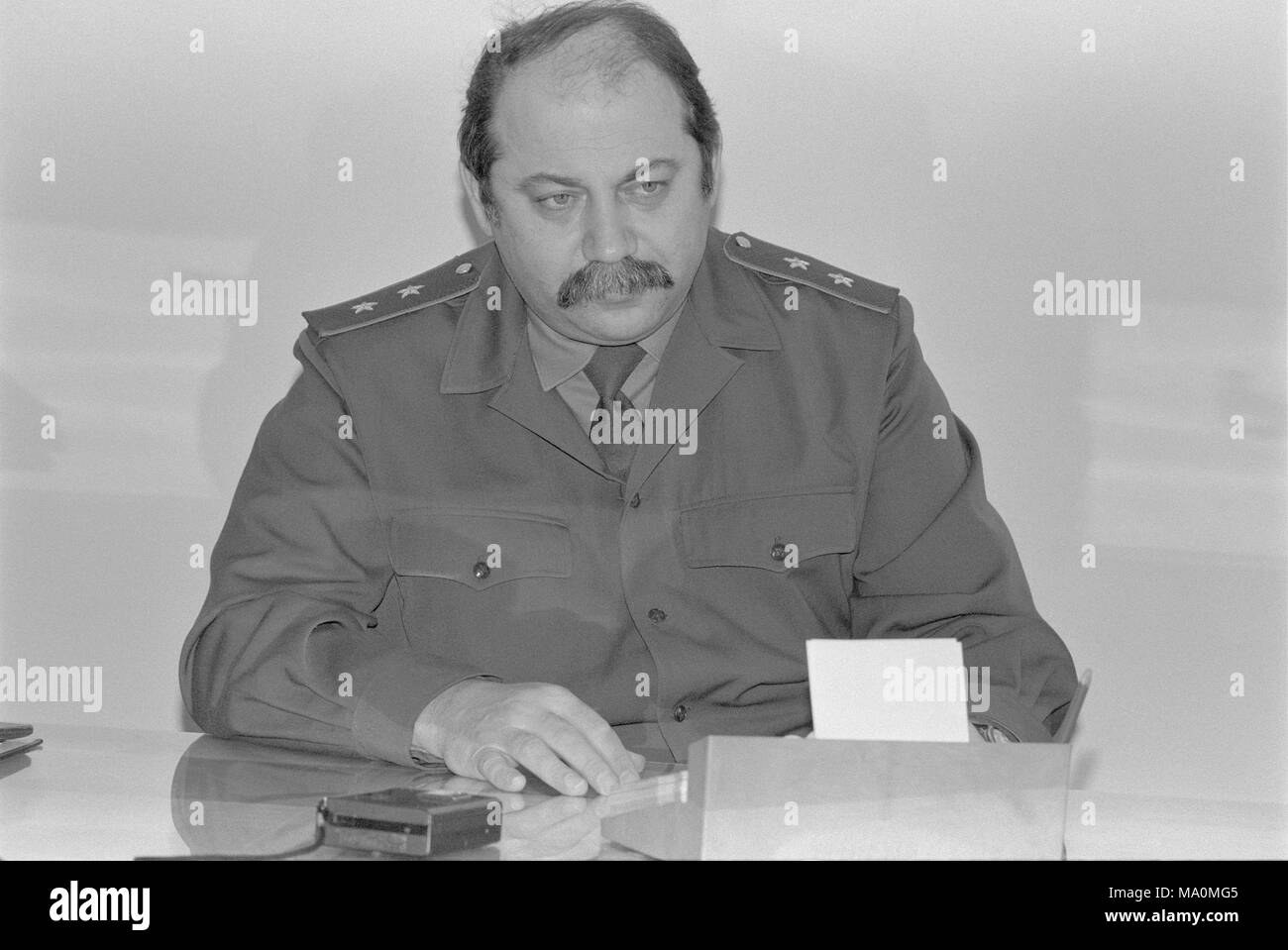 Moscow, Russia - February 28, 1992: First Deputy Defence Advisor of Russian Federation Samoylov Viktor Ivanovich in his cabinet. - Stock Image