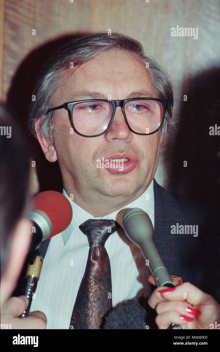 Moscow, Russia - February 07, 1992: Newly appointed ambassador of Russia to the USA Vladimir Petrovich Lukin at his press-conference - Stock Image