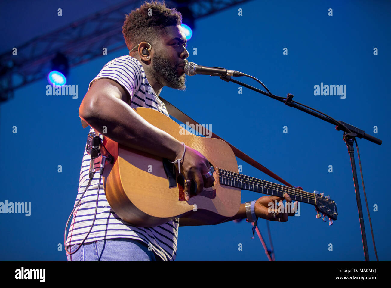 Jake Isaac and band performs during the Midem 2017, Cannes, France, June 6  2017 - Stock Image