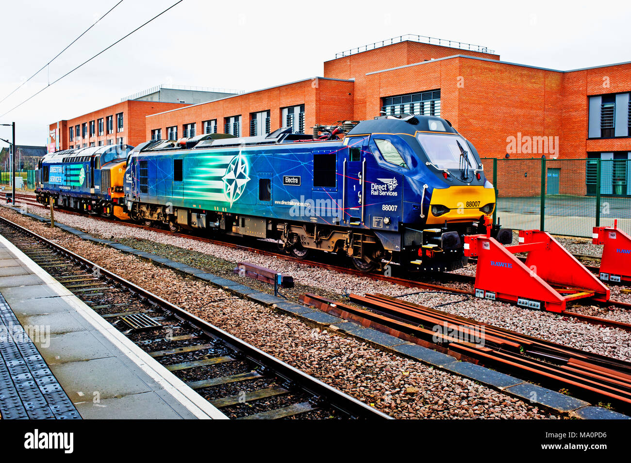 Direct Rail Services Locomotives stabled at York Station York - Stock Image
