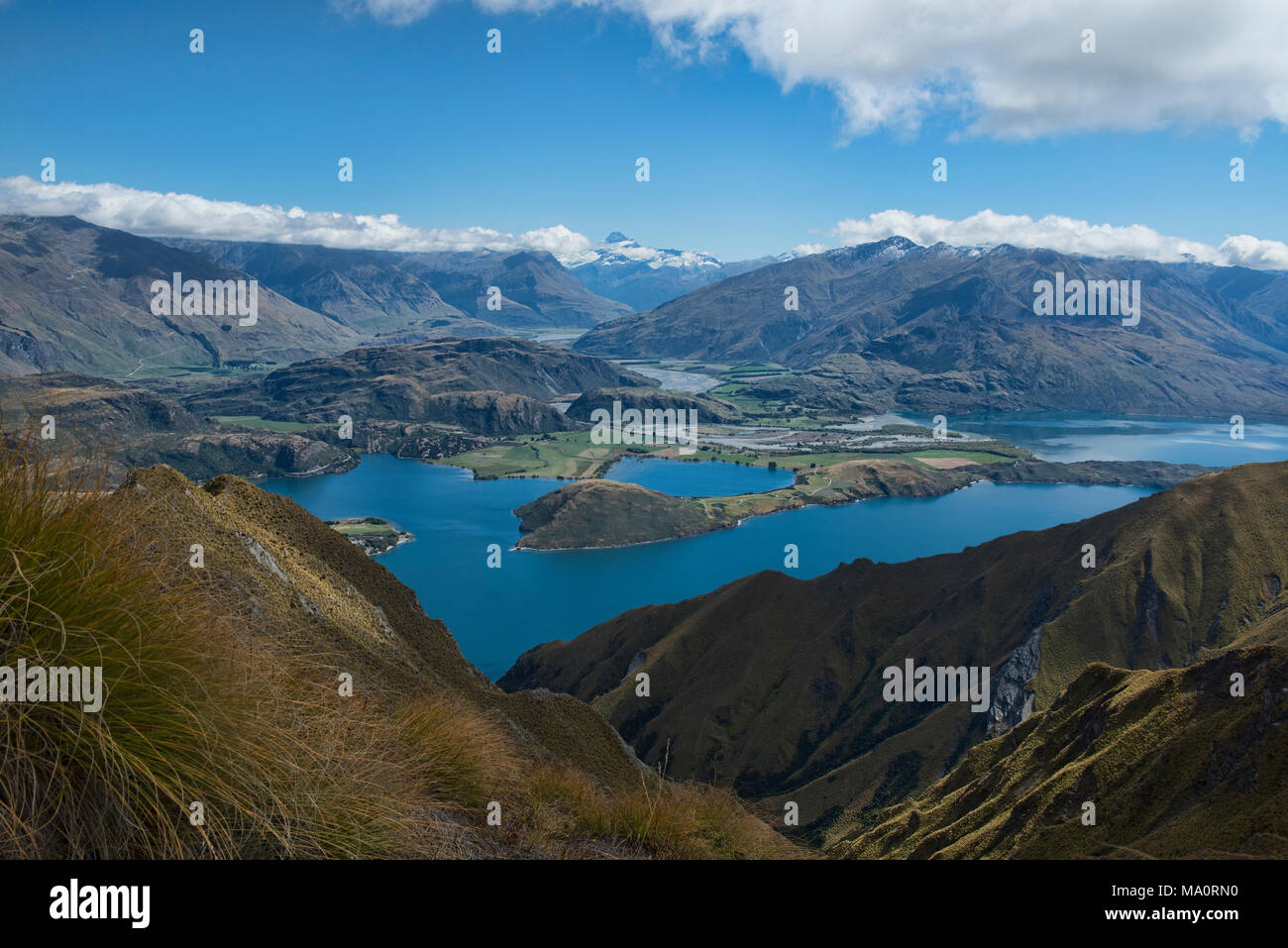 Tremendous views of Lake Wanaka and Mount Aspiring from Roy's Peak, Wanaka, New Zealand Stock Photo