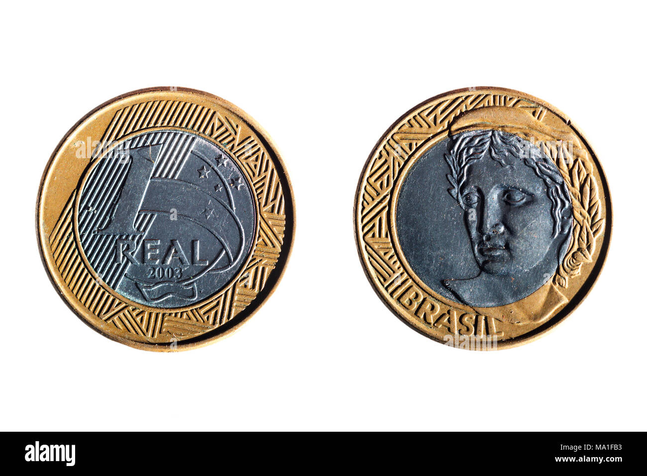 front and back of a brazilian real coin on white background - Stock Image