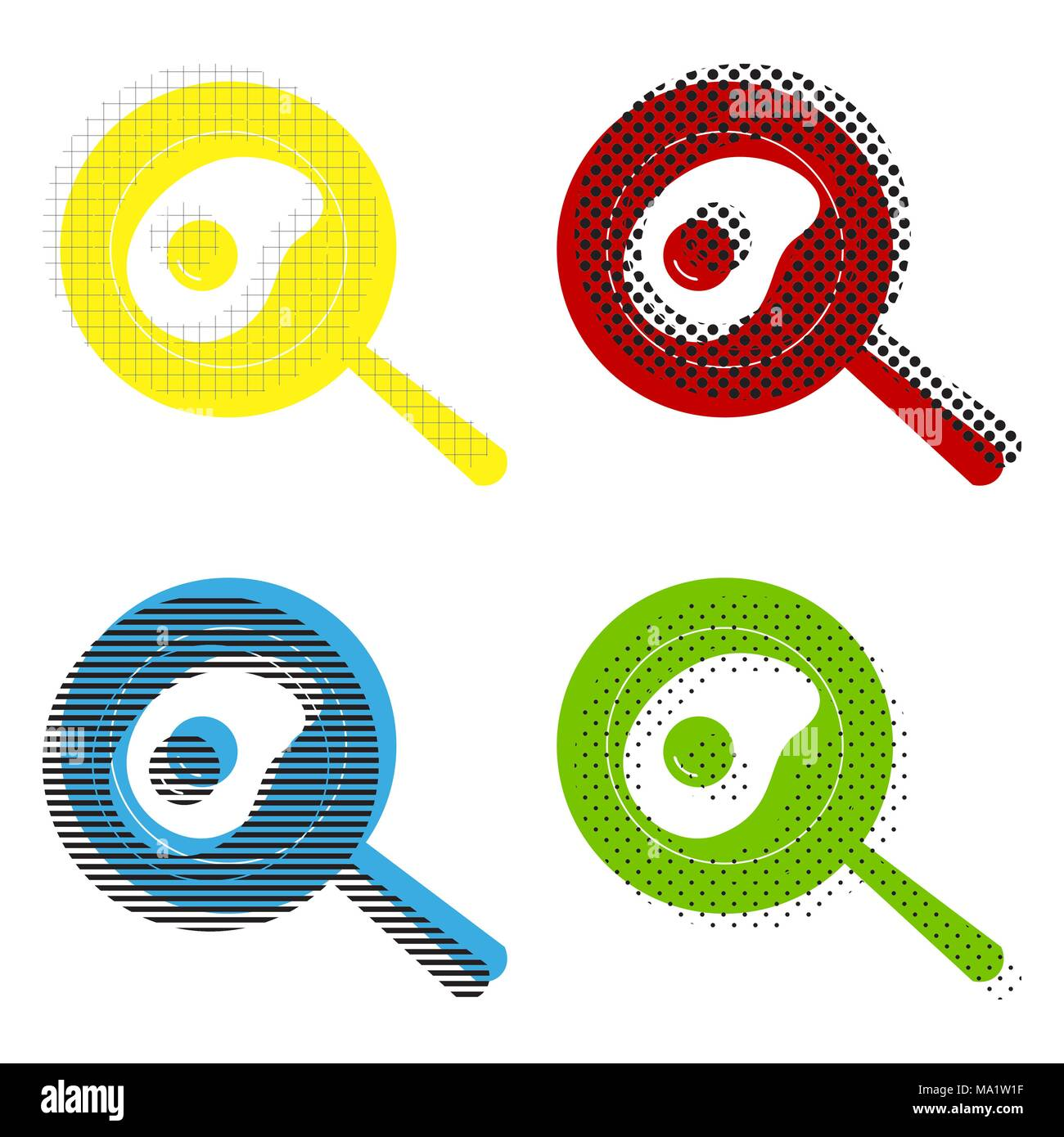 Omelet at pan icon. Vector. Yellow, red, blue, green icons with their black texture at white background. - Stock Vector