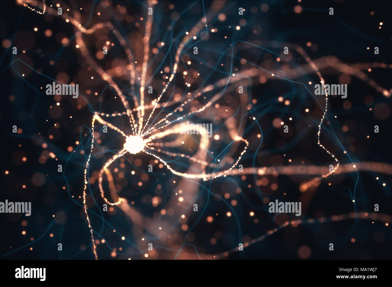 3D illustration of Interconnected neurons with electrical pulses. - Stock Image