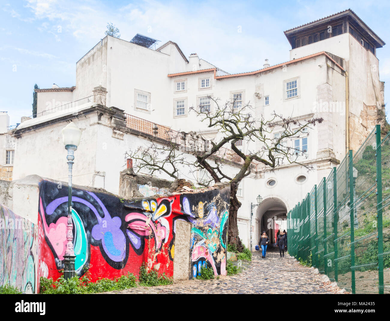 1 March 2018: Lisbon, Portugal - Graffiti or Mural near the entrance to the Castle of St George. - Stock Image