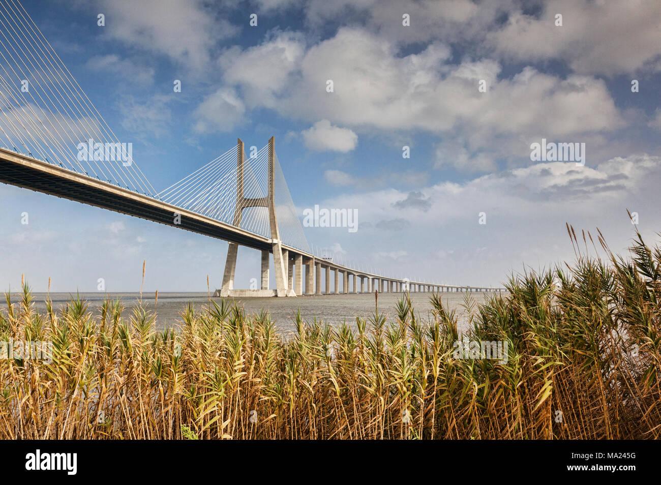 Vasco da Gama Bridge, the 17km cable stayed bridge which spans the River Tagus near Lisbon, Portugal. - Stock Image