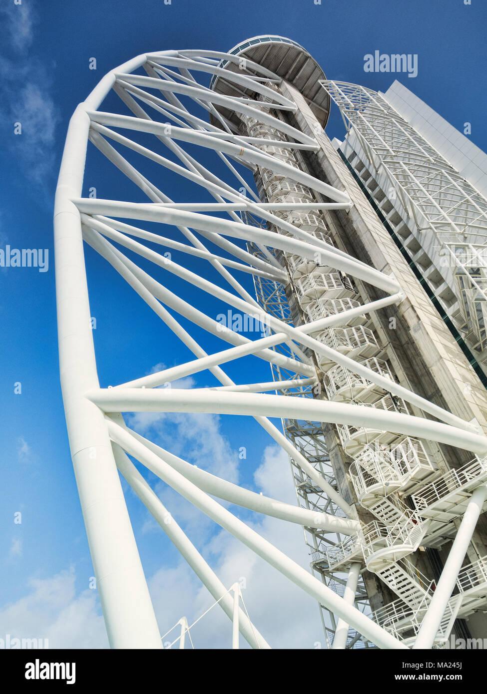 2 March 2018: Lisbon, Portugal - The 145m Vasco da Gama Tower and the Myriad Hotel, Lisbon, Portugal. - Stock Image