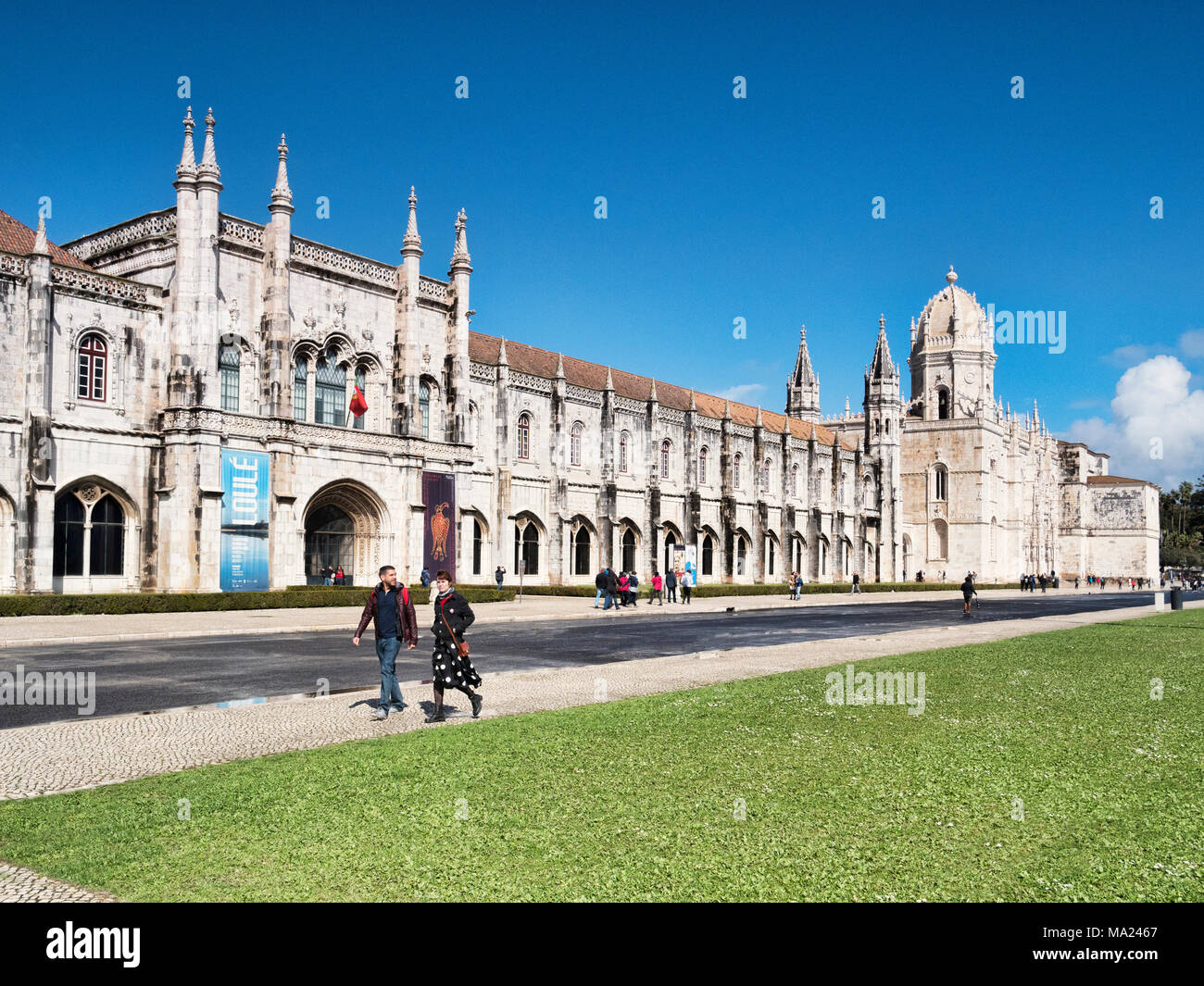 5 March 2018: Lisbon, Portugal - Tourists enjoying early spring sunshine at  Monastery of Jeronimos, Belem. - Stock Image
