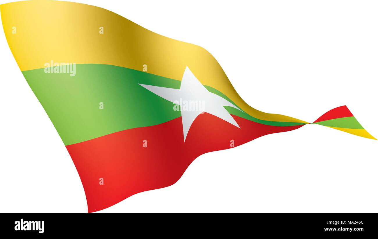 Myanmar flag, vector illustration - Stock Vector
