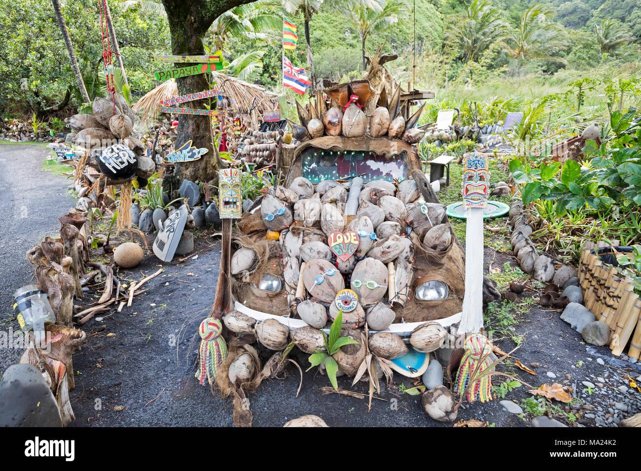A coconut and fruit stand near Kipahulu on the backside road to Hana, Maui, Hawaii. Stock Photo