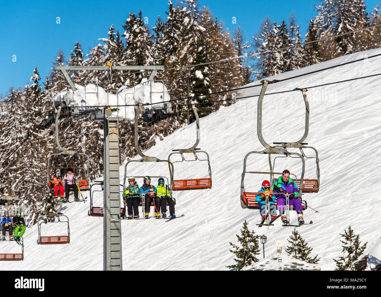 A ski chairlift in Pila ski resort, Aosta Valley, Italy - Stock Image