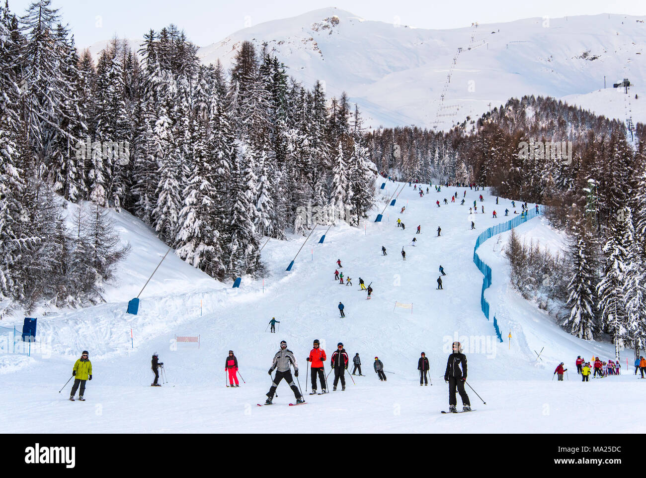 A ski piste in Pila ski resort, Aosta Valley, Italy - Stock Image