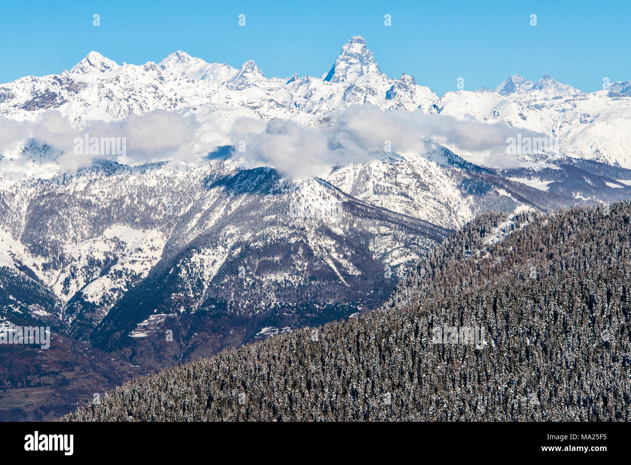 Views from Pila ski resort, Aosta Valley, Italy - Stock Image
