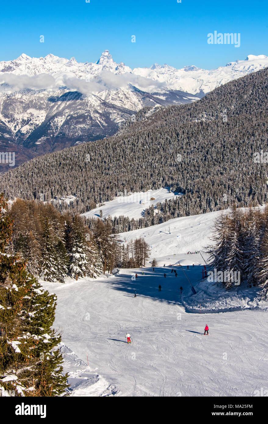 Pila ski resort, Aosta Valley, Italy - Stock Image